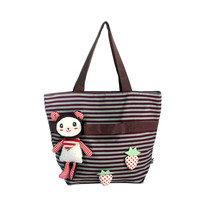 [Rabbit & Cherry] Cotton Canvas Shoulder Tote Bag - $28.99