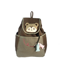[Bear Loves Fish]Cotton Fabric Art School Outdoor Backpack - $29.99