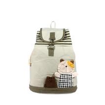 [Happy Cat] Cotton Fabric Art School Outdoor Backpack - $28.99