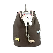 [Catch the Fish] Cotton Fabric Art School Outdoor Backpack - $28.99