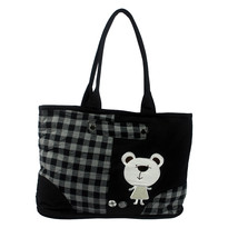 [White Bear] Cotton Canvas Shoulder Tote Bag Shopper Bag - $26.99