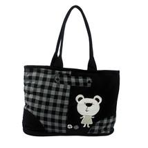 [White Bear] Cotton Canvas Shoulder Tote Bag Shopper Bag - $26.99