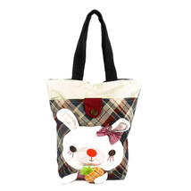 [Rabbit & Pineapple] Cotton Canvas Shoulder Tote Bag - $26.99