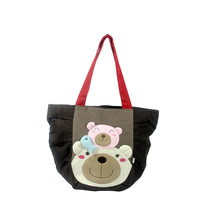 [Bear Family] Cotton Canvas Shoulder Tote Bag Shopper Bag - $26.99