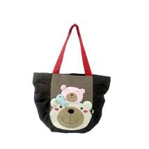[Bear Family] Cotton Canvas Shoulder Tote Bag Shopper Bag - $35.76 CAD