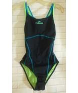Nabaiji XS Black Turquoise Square Neck Keyhole Back Polyester Spandex Sw... - $21.27