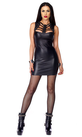 Forplay Fetish Protocol Black Matte Faux Leather Mini Dress w/ Lace Up Chest