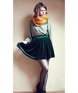 Preppy Dark Green Velvet Mini Skirt. Retro Style High Waist Pleated Skat... - $44.90