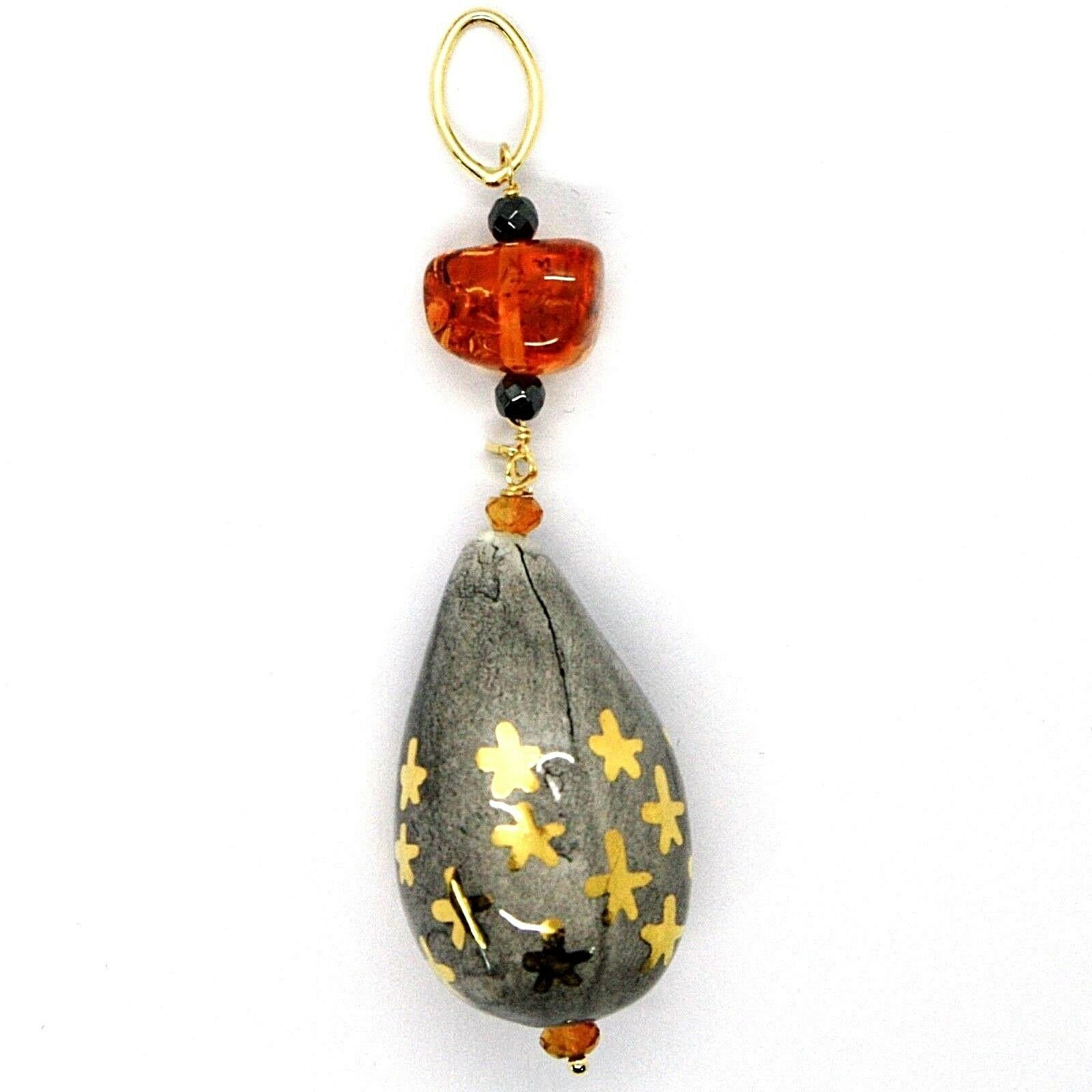 18K YELLOW GOLD PENDANT, AMBER, CITRINE POTTERY DROPS HAND PAINTED IN ITALY STAR