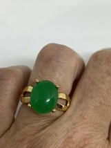 Vintage Green Jade Ring Gold Finish White Sapphire Size 6 - $54.45