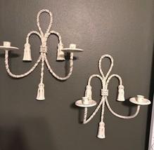 Pair Antique Vintage Metal Twisted Rope Style C... - $37.39