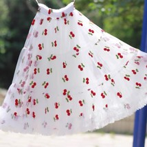 White Cherry Pattern A-line Long Tulle Skirt High Waisted Fairy Tutu Party Skirt image 1