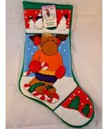 "Santa's Best Moose Christmas Stocking Felt 17"" - $8.96"