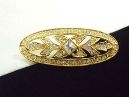 Napier Rhinestone Gold Plate OVAL Brooch Pin Small Classic Vintage Estate  - $15.79