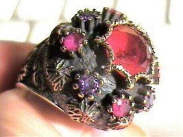 GARNET Amethyst RUBY STERLING SILVER 925 RING 8 OLD ELEGANT medieval sty... - $79.30