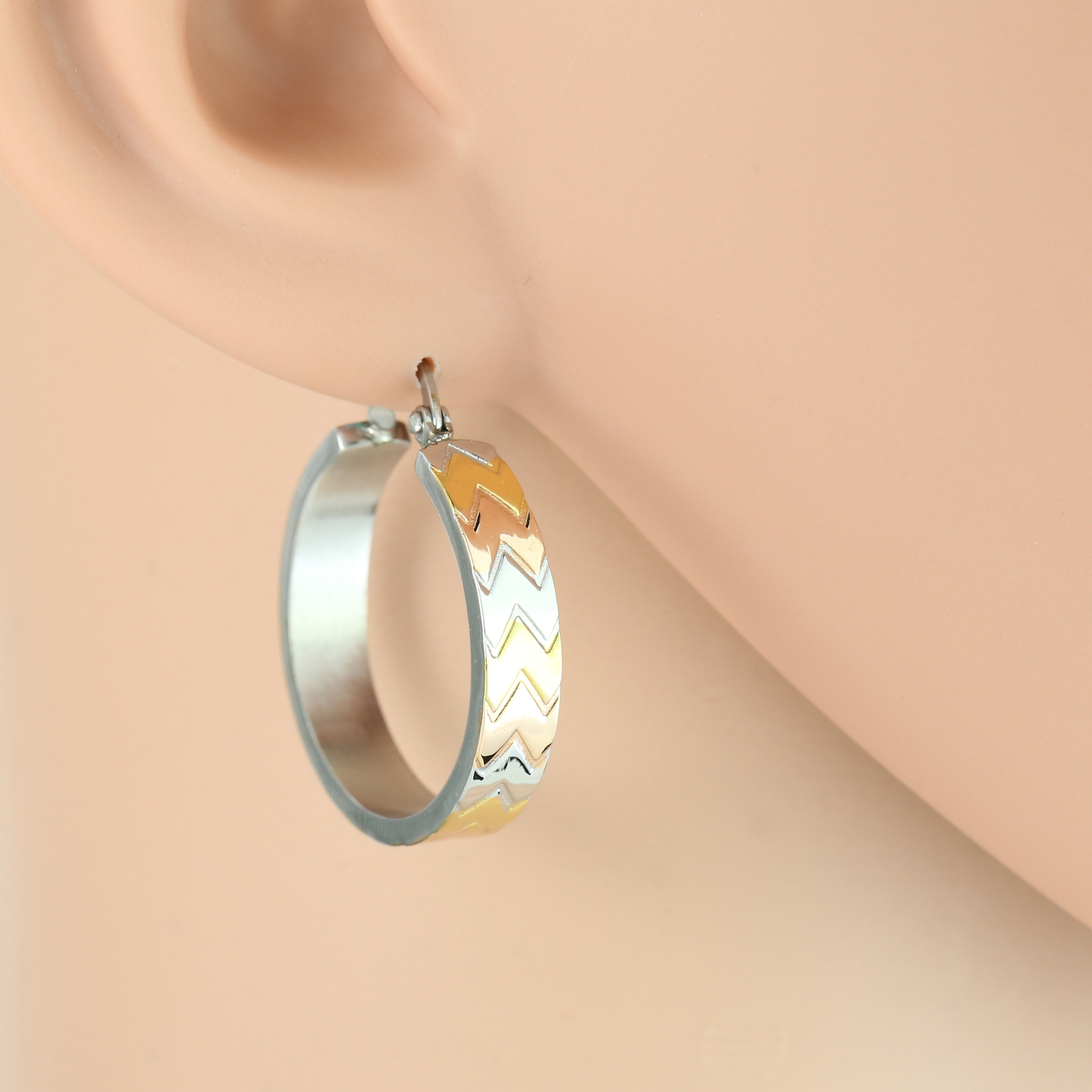 Chevron Design Tri-Color Silver, Gold & Rose Tone Hoop Earrings- United Elegance
