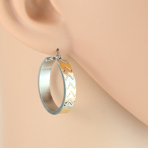 Chevron Design Tri-Color Silver, Gold & Rose Tone Hoop Earrings- United Elegance - $14.99