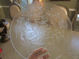 "12"" GLASS CHRISTMAS PLATTER TRAY CHRISTMAS TREE W/VILLAGERS *SALE* - $5.89"