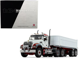 Mack Granite MP with End Dump Trailer White 1/34 Diecast Model by First Gear - $154.68
