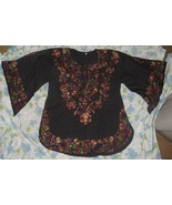VTG Black Rainbow Embroidery Folk Festival Women's Kaftan Blouse BOHO Pe... - $85.45