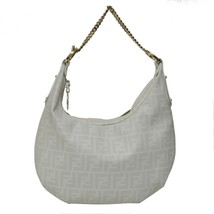 Auth Fendi White Monogram Coated Canvas Hobo Bag with Zip Motif Handbag - $397.38