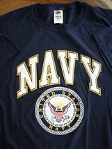 USN US NAVY E/M CPO OFFICER SHIP SHORE AIR ATHLETIC PT CREWS S/S BLUE T-... - $24.74