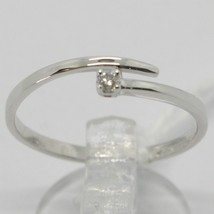 White Gold Ring 750 18k,Solitaire, Snake, Rail with Diamond Carat 0.03 image 1