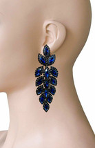 "3.25"" Long Evening Clip On Earrings, Navy Blue  Rhinestones,Pageant, Drag Queen - $20.52"