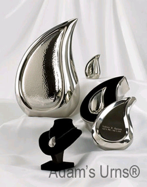 Large/Adult 170 Cubic Ins Tear Drop Silver Brass Funeral Cremation Urn for Ashes