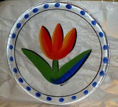 Kosta Boda Art Glass Tulip Hand Decorated Ulrica Hydman-Vallien Plate - $44.54