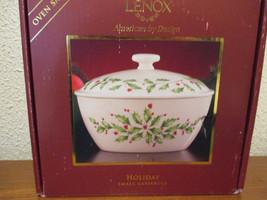 Lenox Holiday Holly Small Casserole lidded dish... - $59.19