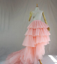 High Low Tiered Tulle Skirt Layered Tulle Skirt with Train Blush Bridal Gowns image 4