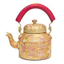 Hand Painted Steel Tea Kettle  Pink Pond - $51.00