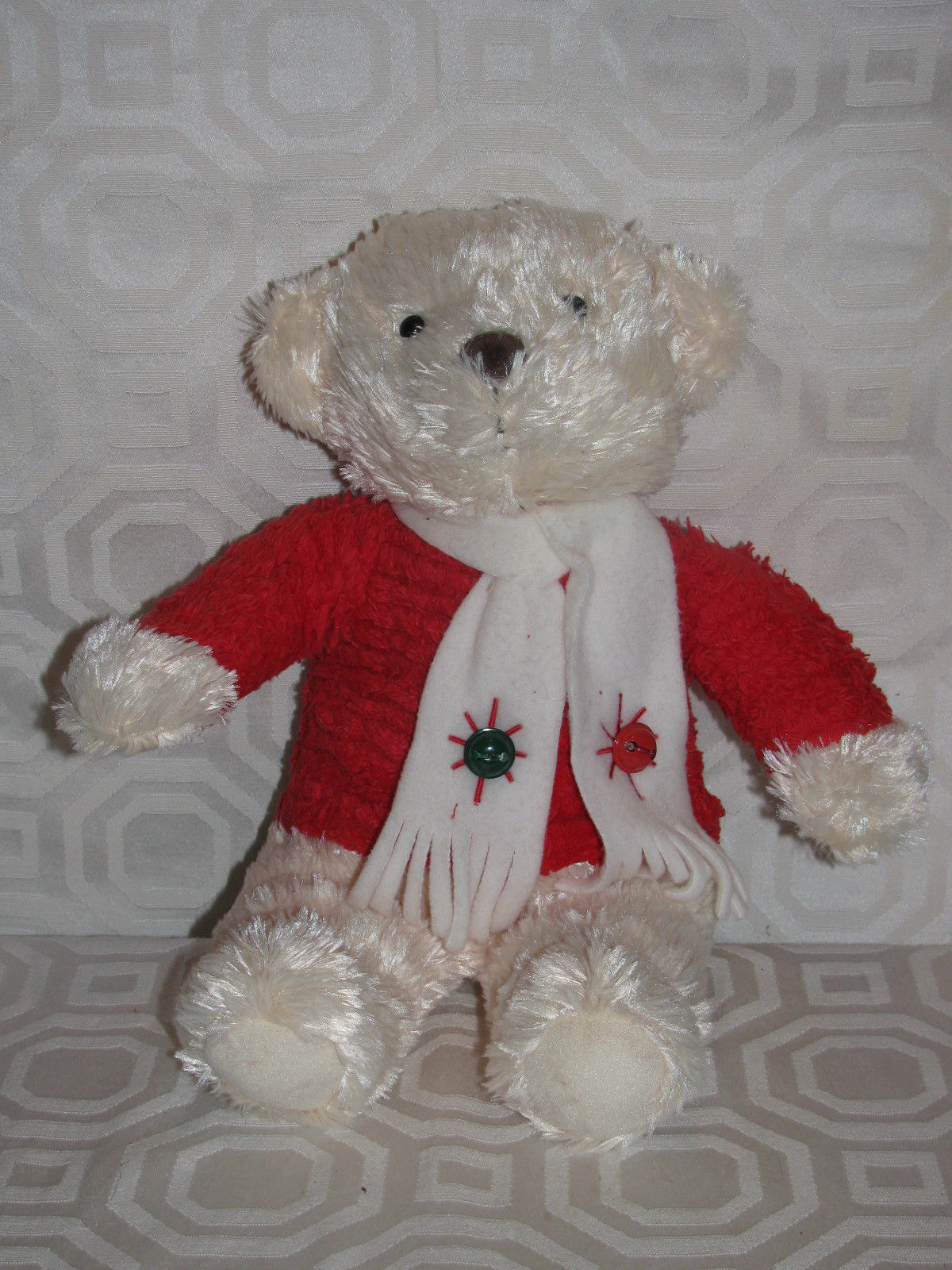 Christmas Vtg Hallmark Plays Jingle Bells Bears Red Top Green & Red Bells Scarf