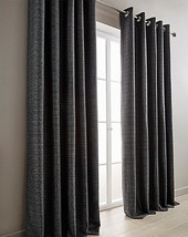 WOVEN BLACK SILVER GREY FULLY LINED RING TOP CURTAINS - *8 SIZES* - $40.90+
