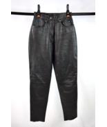 "Vtg 90s HARLEY DAVIDSON Black Leather Moto Biker Skinny Pants Womens 26""... - $29.69"