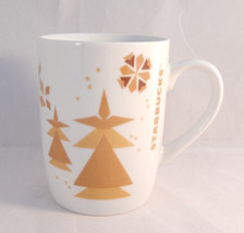 Starbucks 2013 Holiday Coffee Mug Christmas Trees Gold White - $9.89