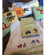 Pottery Barn Kids A to Z Alphabet Crib Toddler Set Red Blue Multi Colore... - $34.64