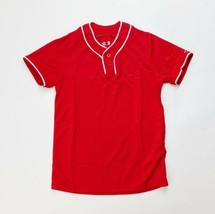 Alleson Men's Small Baseball Jersey Two Button Henley Red White Shirt 506TH - $19.79