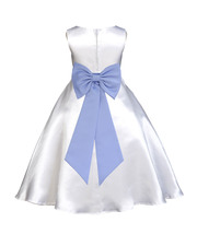 Ekidsbridal White A-line Satin Flower Girl Dresses Special Events Weddin... - $39.99