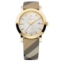 New Burberry BU1398 Haymarket Leather Strap 38mm Watch - $399.00