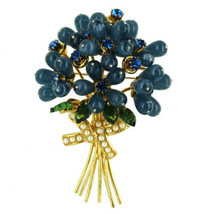 "Vintage Huge Blue Flowers Bouquet Joan Rivers Rhinestone Brooch Pin 3.5"" - $143.99"