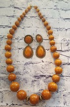 Vintage Wooden Beaded Necklace & Clip Earrings Set Brass Tone  - $8.00
