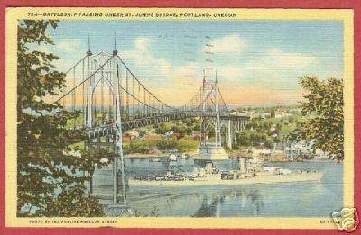 Portland Oregn Bridge Battleship Linen Postcard BJs