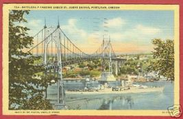 Portland Oregn Bridge Battleship Linen Postcard BJs - $6.50
