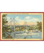 Portland Oregn Bridge Battleship Linen Postcard... - $6.50