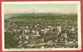 Portland Oregon Bird's Eye Mt Hood Postcard B Js - $6.50