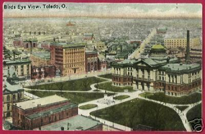 TOLEDO OHIO Birds Eye View Buildings OH
