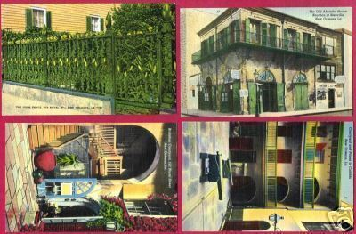 4 NEW ORLEANS LINEN POSTCARDS Very Colorful Absinthe LA
