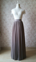 Women Full Tulle Skirt High Waist Bridesmaid Wedding Tulle Skirt,taupe(US0-US28) image 1